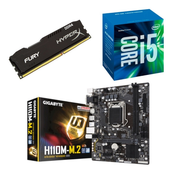 Kit Intel I5 7400 + Gigabyte H110m M2 + Hx 8gb 2400