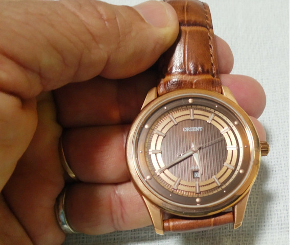 Relógio Orient Quartz Rose Pulseira Couro Original 30m Veja