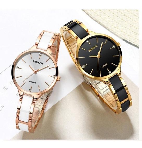 Relógio Nibosi Quartzo Feminino Luxo Moderna