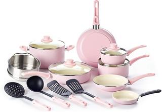 Batería D Cocina Cerámica Antiadherente Greenlife 16pzs Rosa
