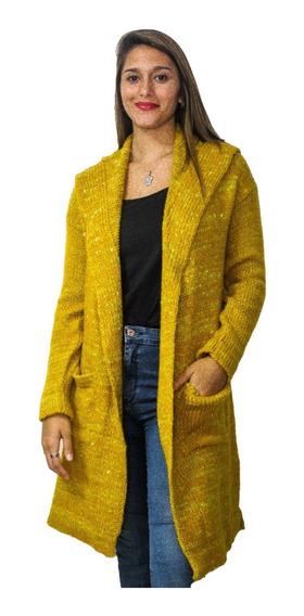 Saco Largo Mujer Con Capucha Sweater Lana Premium Con Puño