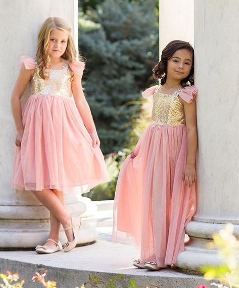 Vestido Nena Fiesta Largo Dorado Rosa Importado Talle 2 - 3