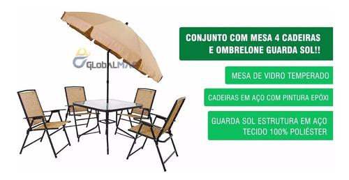 Conjunto Junto Mesa 4 Cadeiras E Guarda Sol Clube Praia