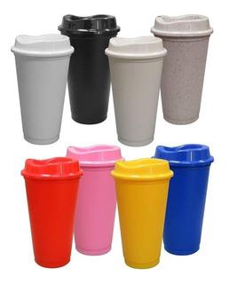 12pzas Vaso Cafetero Plástico 16oz 473mls Con Tapa Ecologico