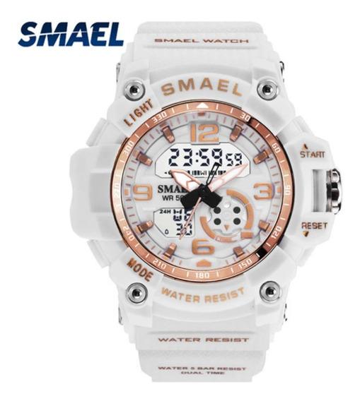 Relógio Esportivo Feminino Smael Branco E Rose Top !!!
