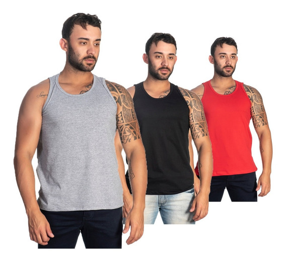Kit 3 Camisetas Masculinas Regatas Para Academia Em Oferta