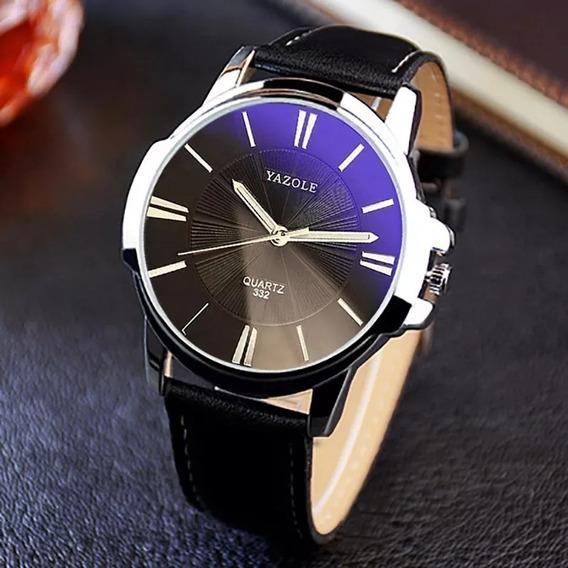Relógio Masculino Yasole Luxo Social Pulseira Couro Quartz