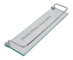 Prateleira Vidro Incolor 8mm Grade 40 Cm X 10 Cm + Suporte