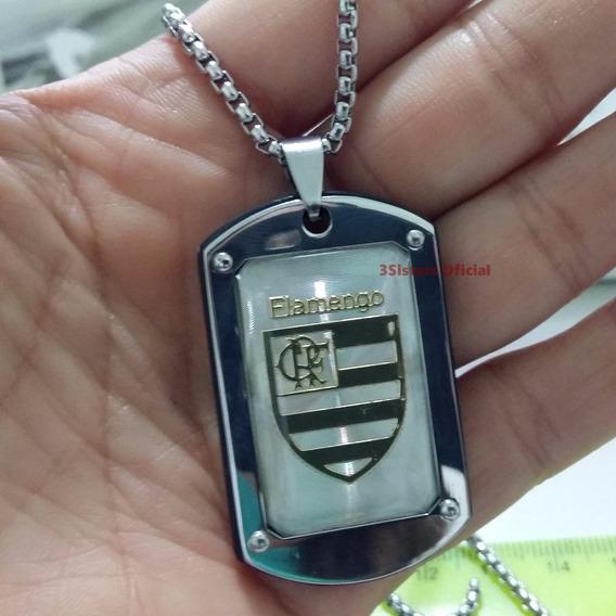 Pingente Flamengo Time + Cordão 70cm Aço Cirúrgico + Pulseir