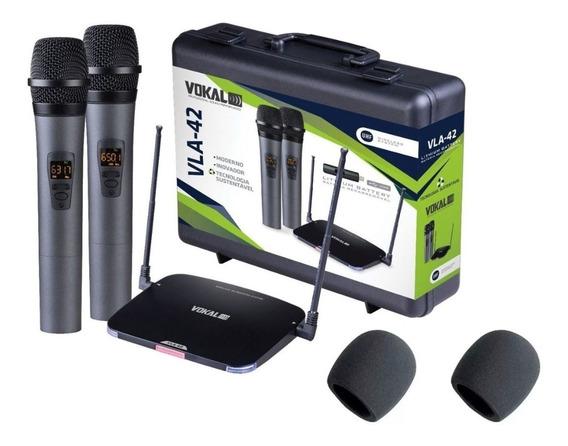 Microfone Sem Fio Duplo Vokal Vla-42 Bateria Recarreg Vla42