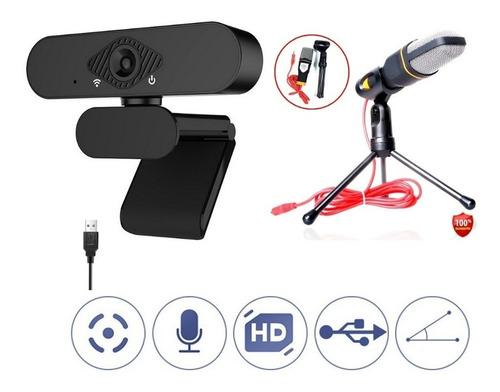Cámara Web Pro Web Cam Hd 1080p + Microfono Profesional+base