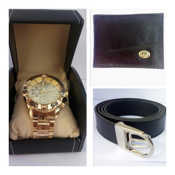 Kit C/4 Presente Relógio Masculino Dourado/prata Aço+carteira+cinto Caixa Luxo De Couro Promoção C/garantia