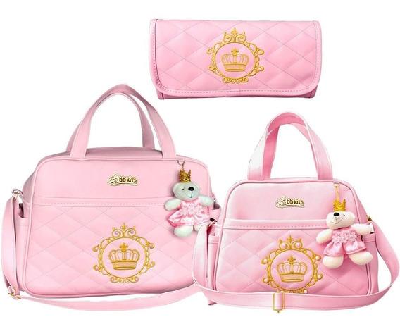 Kit 3 Bolsa Bebe Mala Maternidade Enxoval Menina Menino Luxo