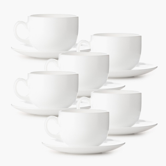 6 Tazas De Te Cafe Con 6 Platos Vidrio Templado Opal Caja