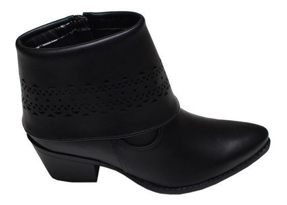 Bota Feminina Ankle Boot Via Marte Preta