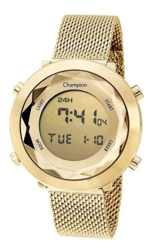 Relógio Feminino Digital Dourado E Amarelo Champion Original