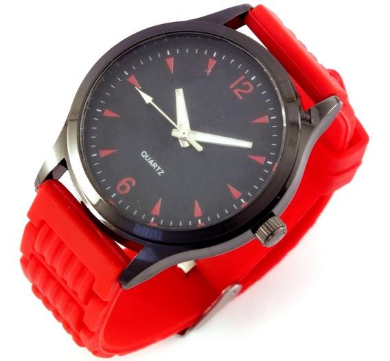 Relógio Masculino Quartz Pulseira Vermelha Em Borracha B5639