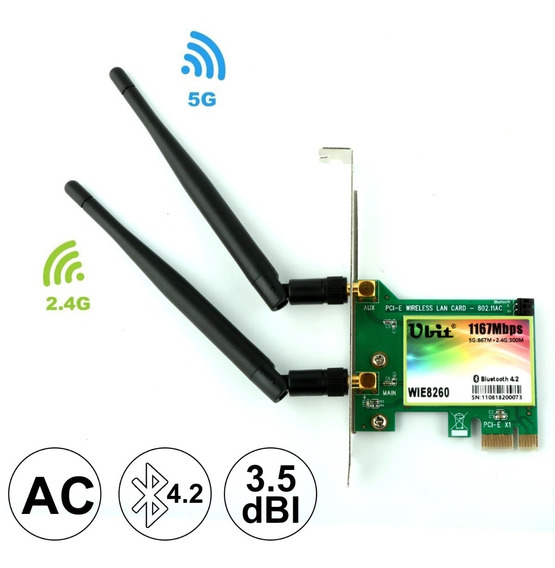 Placa De Rede Sem Fio Wifi Pcie Dual Band + Bluetooth 4.2