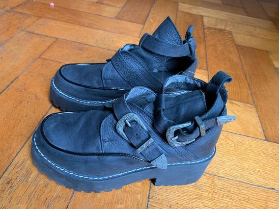 Zapatos De Cuero Con Plataforma.