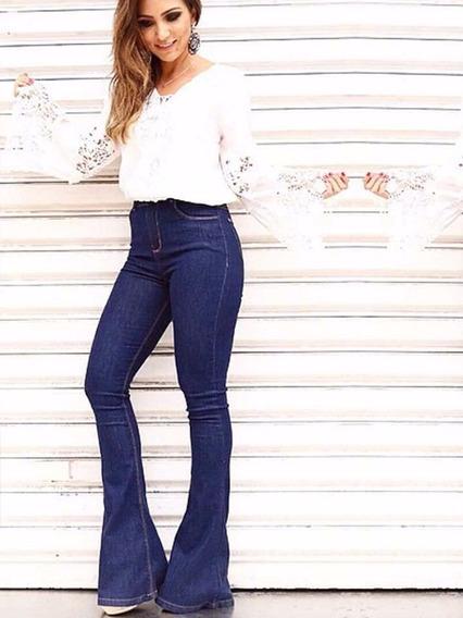 Calça Jeans Feminina Cintura Alta Hot Pants Flare