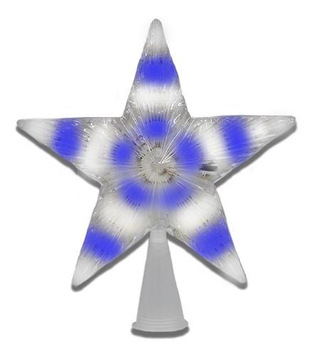 Estrella Fugaz Punta De Arbol Navideño Luz Azul Y Blanco Led