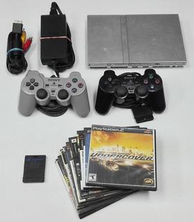 Ps2 Playstation 2 + Controles + 10 Juegos + Memory Chipeado