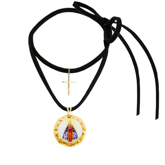 Medalha Nossa Senhora Aparecida Ouro C Pai Nosso E Cordão