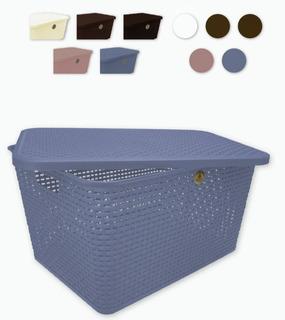 Canastita Plástico Tipo Rattan Caja Organizadora