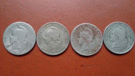 Lote 4 Monedas Argentinas Antiguas 20 Centavos