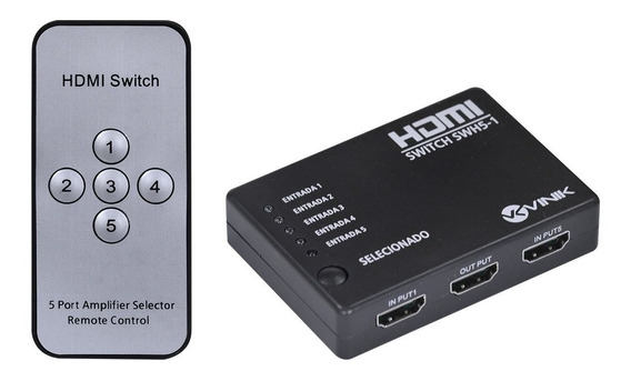Switch Hdmi 5 Portas Splitter Full Hd 3d + Controle Remoto