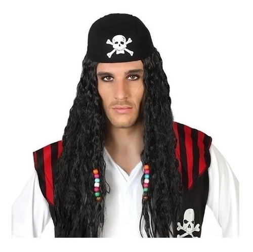Peluca De Jack Sparrow Cotillón Disfraz.