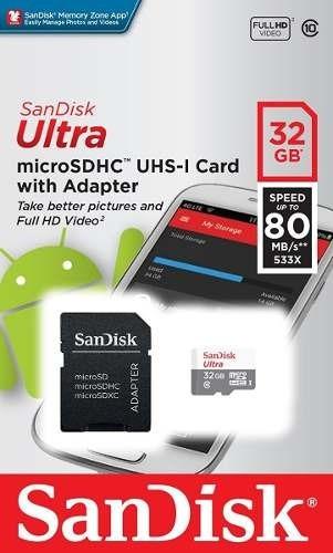 Cartao De Memoria Micro Sd Hc 32 Gb Classe10 Ultra Original