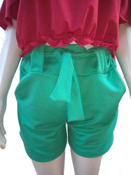 5 Shorts Com Bolso Cintura Alta Com Elastano Moda Blogueira.
