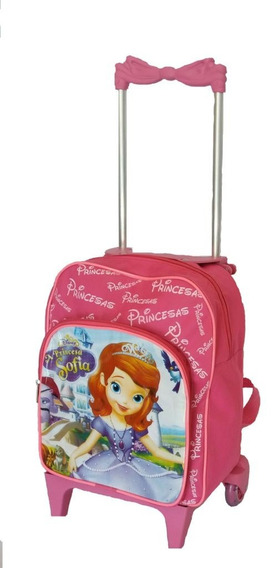Mochila Bolsa Infantil Escolar Com Rodinhas Princesa Sofia P