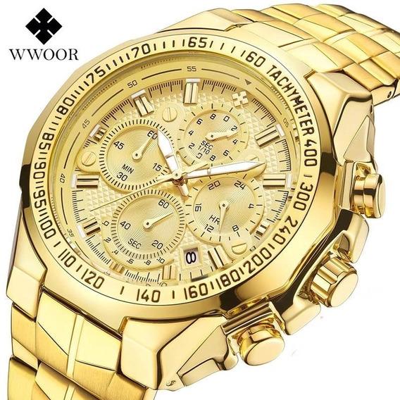 Relógio Masculino Wwoor De Luxo Funcional Original Barato