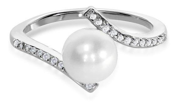 Anillo De Perlita Con Oro De 14k Y Diamantes