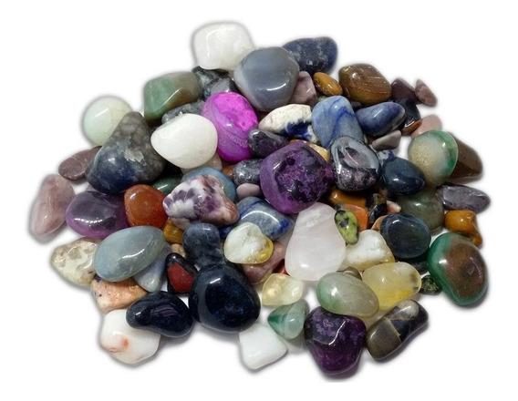 500g Pedra Rolada Natural Mista Cristal Artesanato Atacado