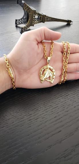 Cordão Cadeado 60cm + Puls 5mm + Ping Cavalo Banhados A Ouro