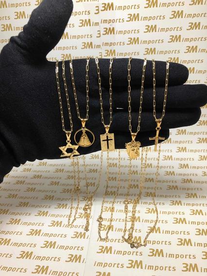 Kit Revenda 5 Cordões E 5 Pingentes Folheados A Ouro