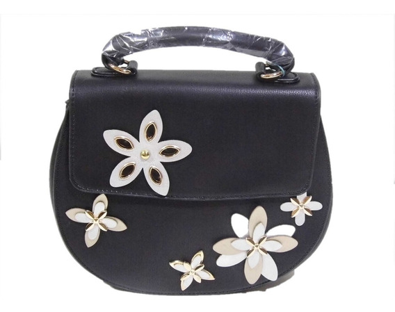 Cartera Amayra Negra De Mano Flap Bag Con Apliques De Flores