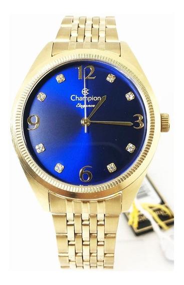 Relogio Social Dourado Mostrador Azul Champion Cn26251k