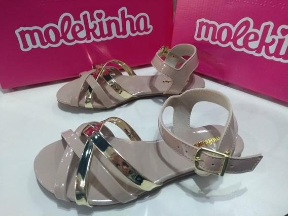 Sandalia Molekinha Infantil Verniz Preta/bege/rosa.original