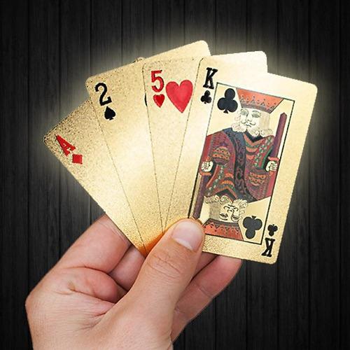 Imagen 1 de 3 de  Mazo De Cartas Poker Doradas Naipes Ultra Finos Baraja Oro