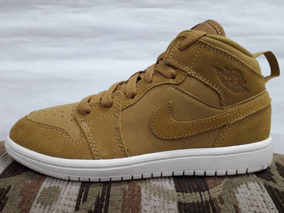 Tenis De Basquetbol Jordan 1 Mid Little Golden Harvest