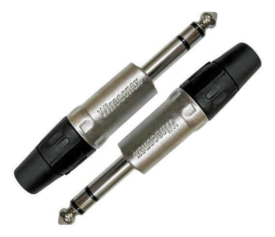 Conector Plug P10 Macho Stereo Profissional Wireconex - 2uni