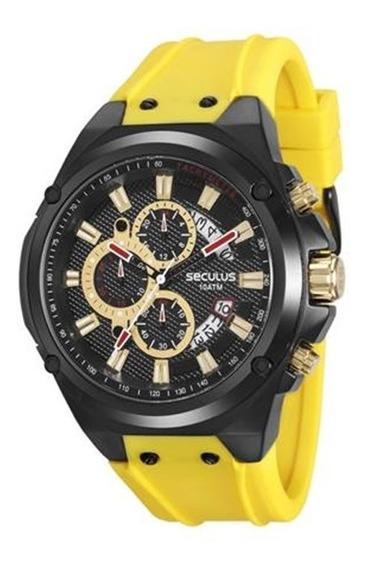 Relógio Seculus Masculino Pulseira Amarelo 20553gpsvpu1