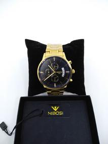 Relógio Nibosi Original Dourado Ouro