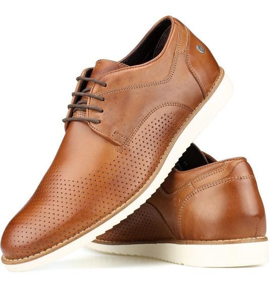 Sapato Casual Oxford Couro Amarração Derby Pinhão Perlatto