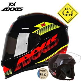 Capacete Axxis Eagle Logo Preto Mais Capacete Aberto Oferta