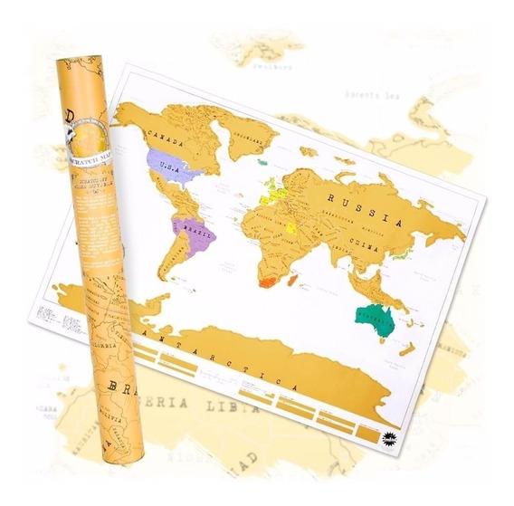 Mapa Planisferio Para Raspar Mapamundi Poster Cuadro Cartel